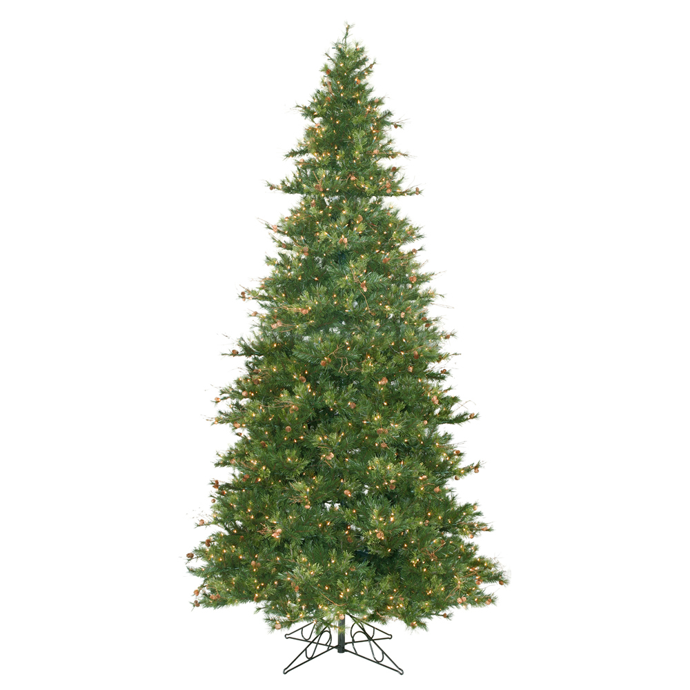 9 ft slim mixed country pine cone christmas tree clear ebay for Pine cone xmas tree