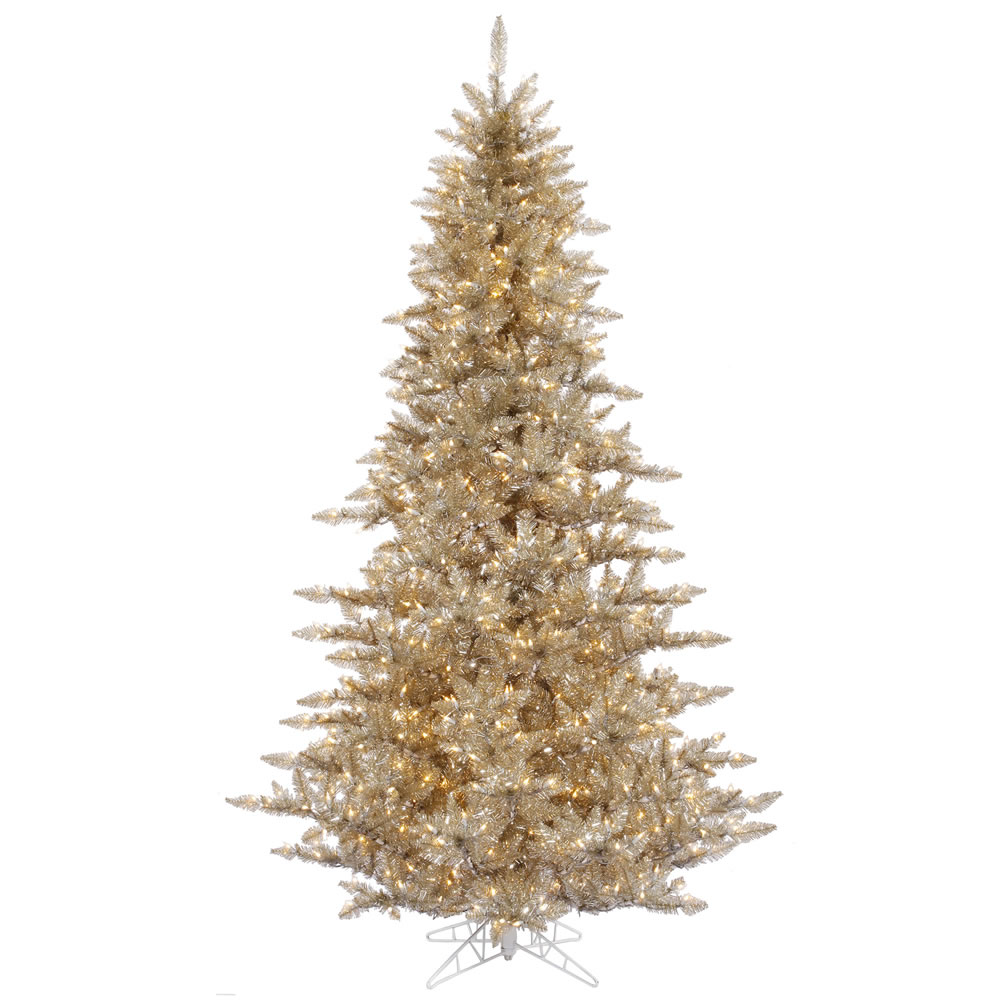 3 ft gorgeous champagne gold fir tree clear lights full for Gold christmas tree lights