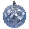 "4"" Teal Shiny Diamond Bauble 6/Bg"